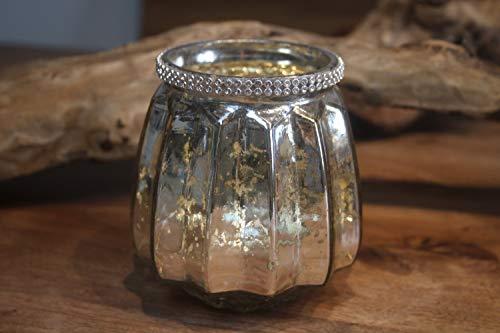 Portavelas de cristal (plateado) con adornos de piedrecitas (altura 11 cm, diámetro...