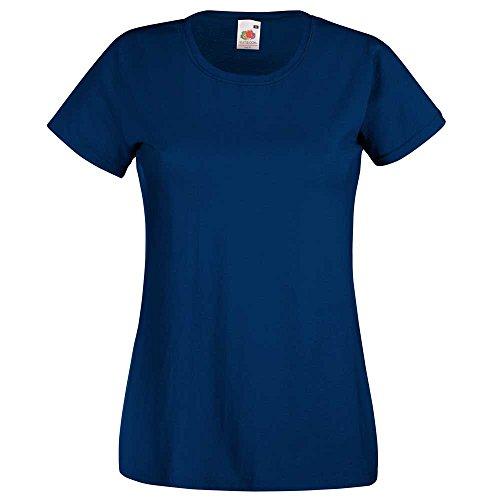 Fruit of the Loom camiseta para mujer ajustada, de distintos colores,de algodón, manga corta azul azul marino M