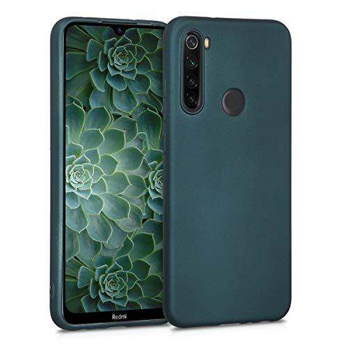 kwmobile Cover Compatibile con Xiaomi Redmi Note 8T - Protezione Back Case Silicone TPU Effetto Metallizzato - Custodia Morbida Petrolio Metallizzato
