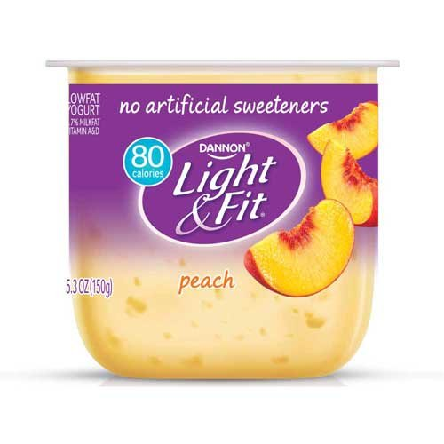Light and Fit Peach Yogurt, 5.3 Ounce -- 12 per case.