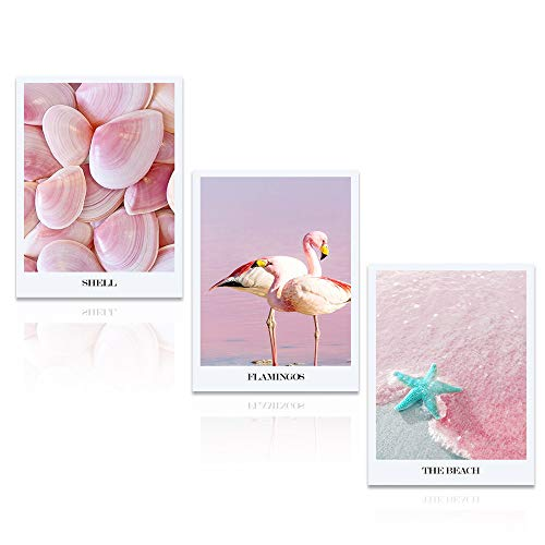 DekHome 3 Panels Pink Starfish Seashell Flamingo Beach Pictures on Canvas Wall Art Pink Seascape Giclee Canvas Prints Stretched and Framed for Bedroom Home Office Decorations 12x16inchx3pcs