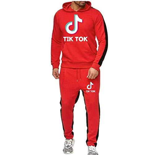 NIGHTMARE Männer Und Frauen Outdoor Sport Pullover Sweatshirt 2Er Set Tik Tok Sportswear Anzug Cooles Sweatshirt Unisex Jogginghose rot XXL