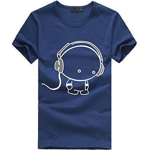 Great Deal! EOWEO Men's Short T-shirt New Men Boy Cotton Tees Shirt Short Sleeve Earphone T-Shirt Cl...