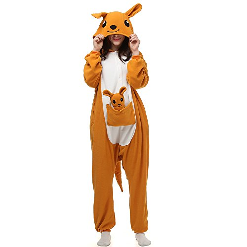Canguro Pijamas para adultos Animal Cosplay Disfraz de Halloween Onesie Marrón