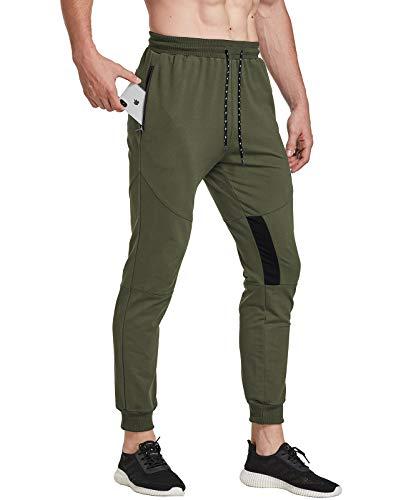 FEDTOSING Pantalones de deporte para hombre, de algodón, ajustados verde XXL