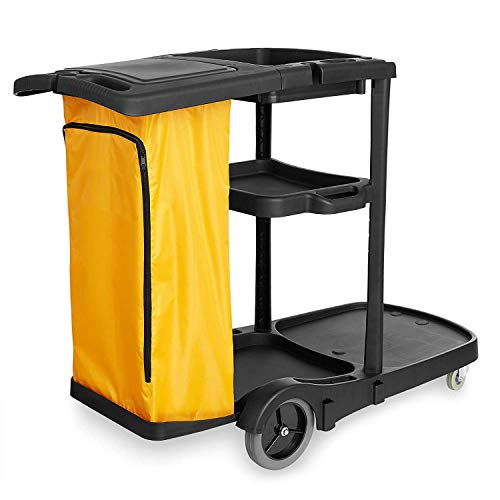 Farag Janitorial Commercial Housekeeping cart Janitorial cart with Cover and Vinyl Bag, L 52' x W 22' x H 40'