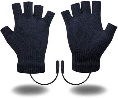 USB Heated Gloves for Men and Women Mitten Winter Hands Warm Laptop Gloves Half Heated Fingerless Heating Knitting Hands Warmer Washable Design