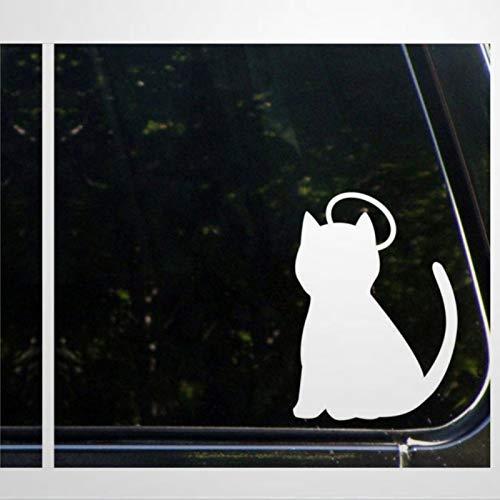 Calcomanía de vinilo para coche, diseño de ángel y diablo, diseño de gato y ángel