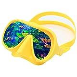 QHYAH Máscara de Buceo con Esnórquel, Máscara de Natación de Vidrio Templado Antiniebla para Adultos, Máscara de Buceo Natación, Esnórquel, Gafas de Buceo,Amarillo