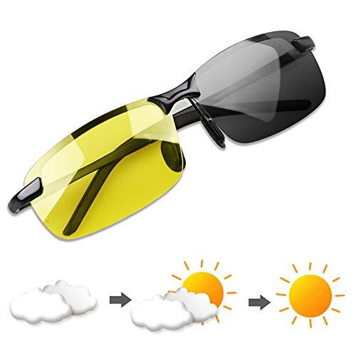 YIMI Herren Photochromatisch Sportbrille Polarisiert Rechteckig Sonnenbrille Al-Mg Metallrahmen Fahrer Anti Reflexbeschichtung 100{e22b49bbc8bb62cf8a4502b60fba2707c1c4723931a59aea971f2742cbfb7202} UVA UVB Schutz für Golf Angeln Autofahren Outdoor Aktivitäten