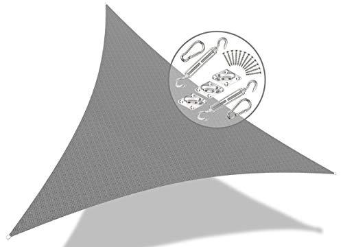 VOUNOT Tenda a Vela Parasole Triangolare 5x5x5m, 19 Pezzi Kit di Montaggio, Traspirante HDPE Protezione UV, per Esterno Giardino, Grigio