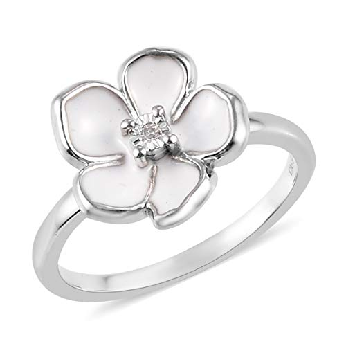 Platinum Plated 925 Sterling Silver Round White Diamond Flower Ring Engagement Wedding Anniversary Bridal Jewelry Valentines Gift For Her Size 10