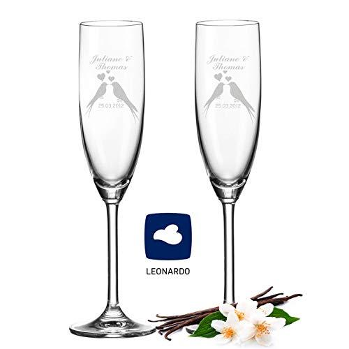 Leonardo Sektgläser mit Gravur von Namen & Datum im - Wedding Bird Design - als Geschenk zur Hochzeit, Verlobung oder zum Jahrestag - Personalisiert mit Wunschgravur - das perfekte Hochzeitsgeschenk