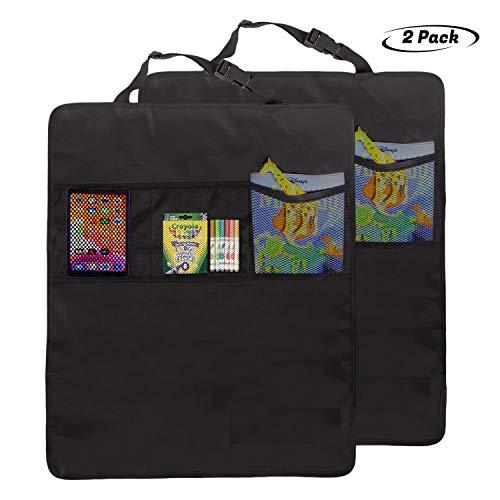 Lebogner Kick Mat - Protectores para respaldo de asiento de coche + 3 bolsillos organizadores, 2 unidades de tela impermeable para la parte trasera de tu asiento, protectores de asiento trasero de coche extragrande, protector de asiento trasero para niños