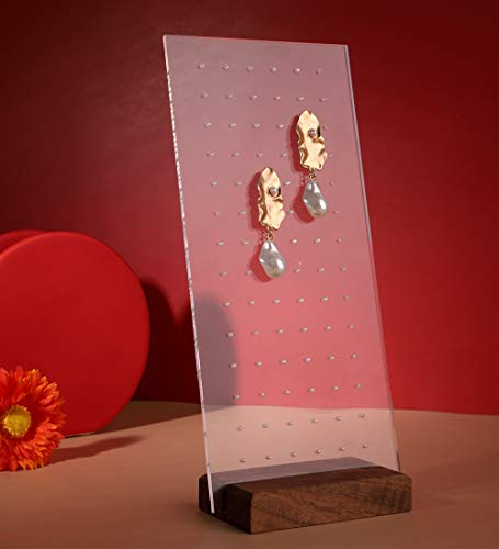 GemeShou Acrylic Earring Stud Display Pegboard with 42 Holes Walnut Wood Paparazzi Jewelry Organizer Stand Earring Clip on Holders for Retail Show Personal【Walnut Acrylic Earring Board 42 Holes 】