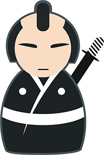 Cute Japanese Asian Character Cartoon Emoji Vinyl Sticker (8' Tall, Samurai)