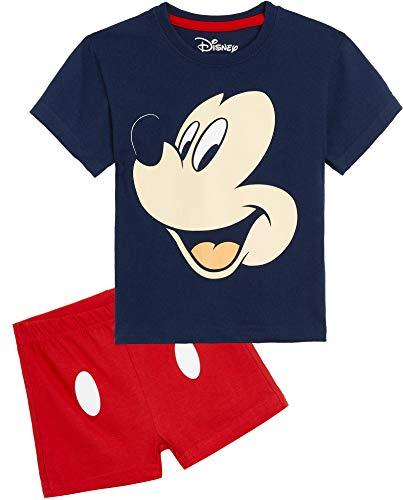Disney Mickey Mouse Pijama Niño Verano, Pijamas Niños Cortos, Ropa Niño 100% Algodon, Conjunto Niño Verano Camiseta Manga Corta y Short, Regalos para Niños Niñas 1-6 Años (5-6 años)