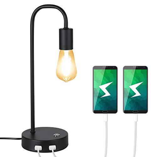 Tomshine Retro Tischlampe gebogen Usb Schreibtischlampe, Touch Dimmbar E27 8W Vintage Nachttischlampe, stufenlos dimmbare Leselampe mit zwei USB-Ladeanschlüssen.(mit Lichtquelle)