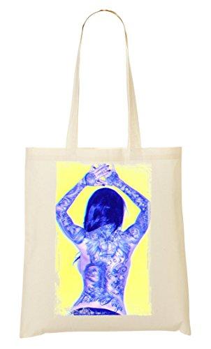 Tattooed girl | Back | Angel | Ink in veins | | Artistic | Beautiful | Simple | Shape Tragetasche Einkaufstasche
