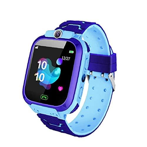 nJiaMe Inteligente Reloj niños Teléfono niños Pulsera Azul SOS Llamada Cámara Impermeable SIM Compatible con iOS Anroid