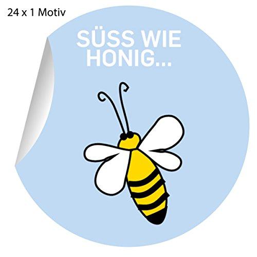 24 schattige bijenstickers ook voor zelfgemaakte, matte papieren stickers voor geschenken, etiketten voor tafeldecoratie, pakketten, brieven en meer (ø 45 mm; 1 motief): lief als honing. 5 x 24