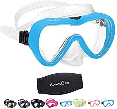 OMGear Diving Mask Snorkeling Gear Kids Adult Snorkel Mask Dive Goggles Silicone Swim Glasses Scuba Free Diving Spearfishing Anti-Leak Anti-Fog Neoprene Strap Cover (Wathet Blue)