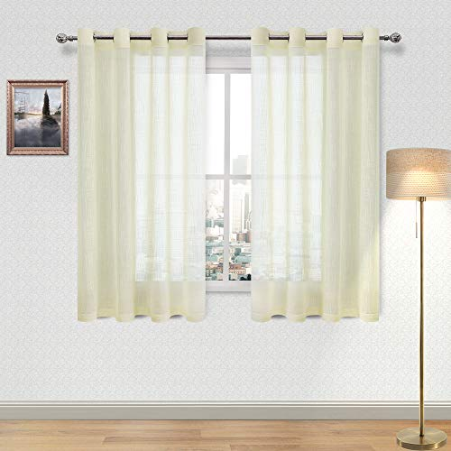 DWCN Faux Linen Pale Yellow Sheer Curtains - Window Bedroom and Living Room Grommet Voile Curtains 52 x 45 Inch Length, Set of 2 Curtain Panels