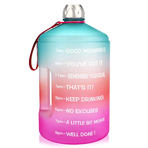BuildLife 1 Gallon Water Bottle Motivational Fitness Workout with Time Marker/Drink More Daily/Clear BPA Free/Large 128OZ Capacity Throughout The Day(Green/Pink Gradient ,1 Gallon)