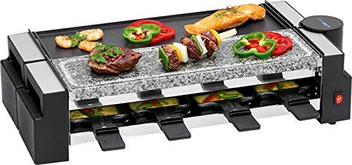 Raclette Grill 8 Personen Grillplatte Tischgrill Elektrogrill 2 Grillplatten Heißer Stein (8 Pfännchen, 1400 Watt, Antihaftbeschichtung, Party Grill)