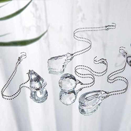 H&D 4 Stks Crystal Prisms Charm Hanger Plafond Ventilator Trek Ketting Extender met Ball Chain Connector