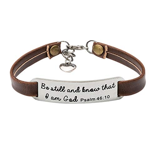 UNQJRY Confirmation Bracelets for Women Christian Gifts for Her Leather Bracelet Be Still and Know That I am God