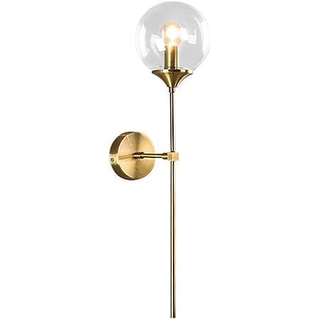 MZStech Applique murale industrielle vintage, globe en verre Clair avec applique murale dorée à bras long, applique murale dorée pour chevet (Clair)