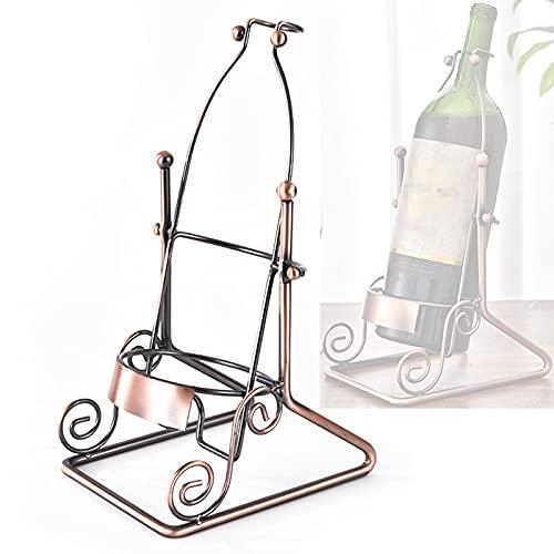 Yadaln Botellero Vino Individual Metal, Soporte Botellas Vino Vintage Industrial de Hierro, Estante Mueble Vino para Restaurante Cocina Bares