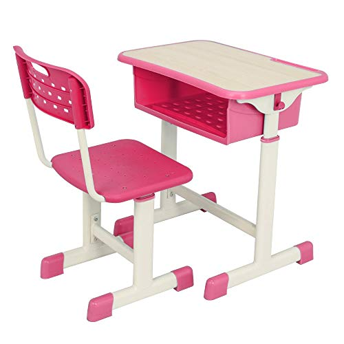 JYXJJKK Escritorio de ordenador ajustable para estudiante y silla combinación, pintura blanca, superficie de grano de madera, plástico rosa [60 x 40 x (63 – 75 cm)