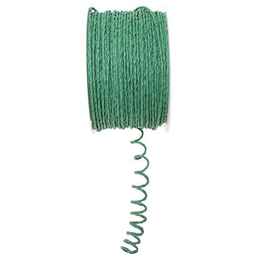 Floral-Direkt 100m Papierdraht D 2mm Papierdekodraht Papierkordel auf Spule, Farbe:grün