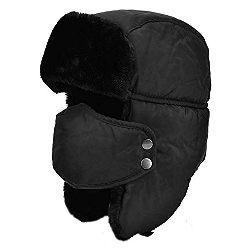 BJ-SHOP Gorros de Aviador, Sombreros Bomber Gorra Unisex de Bombardero de Invierno Máscara Bucal a Prueba de Viento con Orejeras para Ciclismo, Patinaje