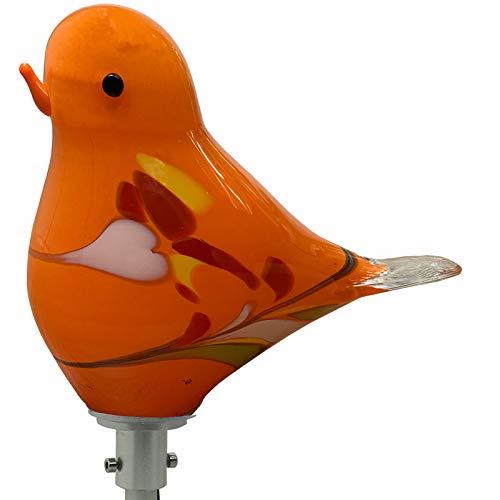 Glasfigur Spatz (Farbe: orange) mit LED Beleuchtung. Gartendekoration inklusive Stabbeleuchtung aus Aluminium, Gesamthöhe ca. 120cm. Mundgeblasenes und handgeformtes Glas Unikat (Orange)