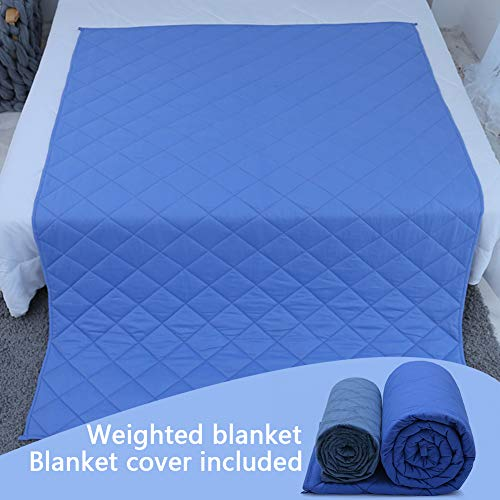 Restsynergy Weighted Blanket Adult 15 lbs 48''x72'' Twin Size with Removeable Cover Heavy Weighted Blanket Diamond Lattice Blue
