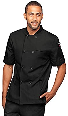 Men's Short Sleeve Chef Coat with Mesh Side Panels (S-3X, 4 Colors)
