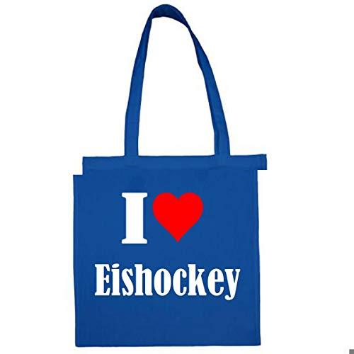 Tasche I Love Eishockey Größe 38x42 Farbe Grau Druck Schwarz