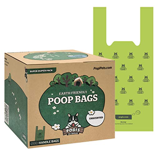 Pogi's Hundekotbeutel - 900 unparfümierte Tüten mit Verschlussträgern - große, biologisch abbaubare, tropfsichere Hundetüten