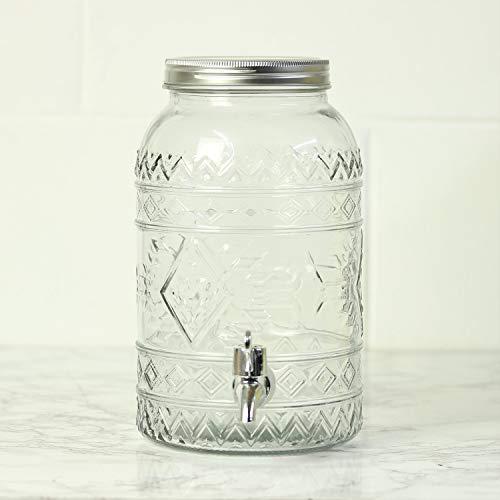 ootb Getränkespender aus Glas, Vintage-Glas, mit Metalldeckel, 26 cm