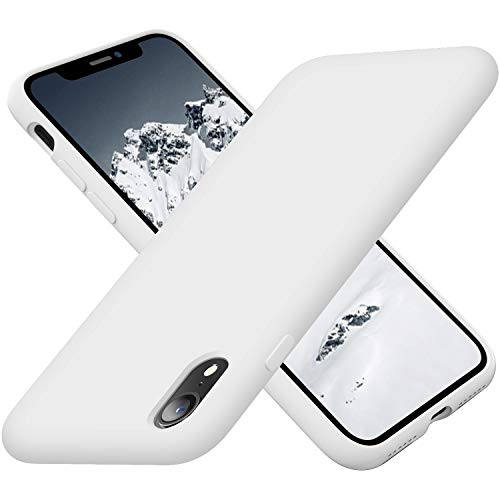 Cordking iPhone Case XR, Silicone Ultra Slim Shockproof Phone Case with [Soft Anti-Scratch Microfiber Lining], 6.1 inch, White