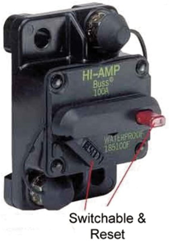 Marinco 185050F011 Marine Switchable Reset Circuit Breaker50 Amp, Flush Mount