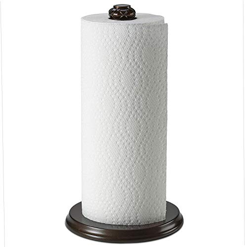 Paper Towel Holder stand for countertop - Decorative Freestanding Holder for Paper towels - Non-Slip Weighted Base, Sturdy, Durable and Heavy Duty, Fits Regular & Jumbo Rolls, Oil Rubbed Bronze Finish