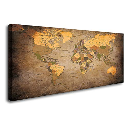 Baisuwallart- 1 Piece Vintage World Map Canvas Prints Wall Art- Ready to Hang - Home Office Decor Picture Prints for Living Room Bedroom Abstract Painting Artwork 30x60inches x1pcs