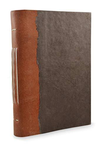 Nepali Collector Journal, cuero y lokta, cuaderno de escritura con papel hecho a mano, hecho en el Himalaya de Nepal. (15 x 20 cm), color nogal oscuro