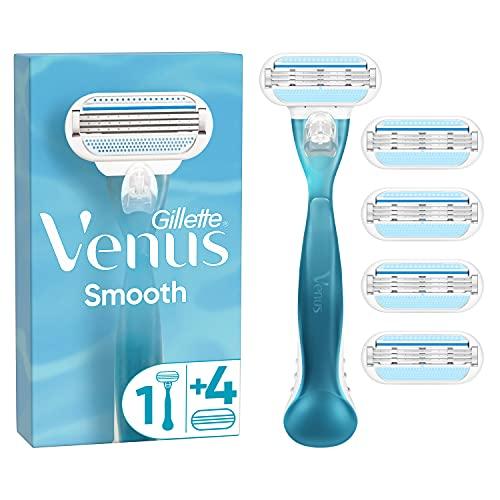 Gillette Venus Smooth Rasierer Damen, Damenrasierer mit 5 Rasierklingen, 3 Klingen mit Schutzkissen, aktuelle Version