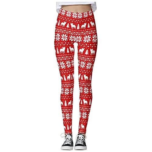 QTJY Leggings de Fiesta de Navidad, Pantalones de Yoga sin Costuras de Cintura Alta y Levantamiento de Caderas, Leggings Deportivos BS para Correr