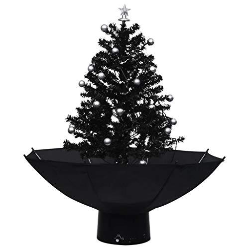 vidaXL Schneiender Weihnachtsbaum mit Schirmfuß Schneefall Künstlich Tannenbaum Christbaum Kunstbaum Dekobaum Weihnachten Dekoration Schwarz 75cm PVC